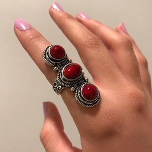 Red marble silver statement ring